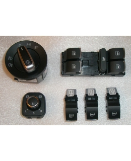 Переключатели света, зеркал, кнопки стеклоподъёмников с хромом VW Passat B6/B7/CC/Golf5/6/Tiguan/Jetta