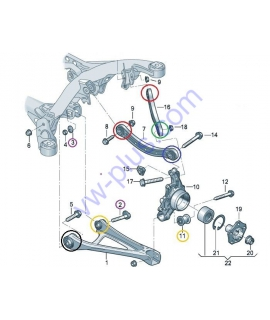 LEMFORDER Комплект сайлентблоков задней подвески Volkswagen Touareg; Audi Q7; Porsche Cayenne (7L0505397; 7L0505398; 7L0505311B; 7L0505312B; 7P0505311E; 7P0505312E; 7L8501529A; 7P0501529; 7P0501530)